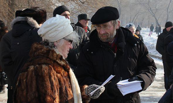 Александр Потылицын на митинге против повышения тарифов ЖКХ в Красноярске