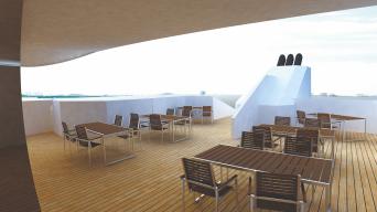 На палубе рубки 2 яруса располагается оборудованный видеотехникой ресторан на 104 места (26 столиков) с панорамным тонированным остеклением и сервировочной-баром, а также прогулочная палуба.