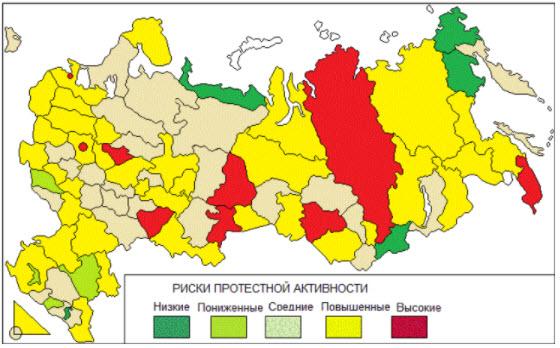 Красным отмечены регионы с высокой протестной активностью. Изображение: sapronov.test.finam.ru